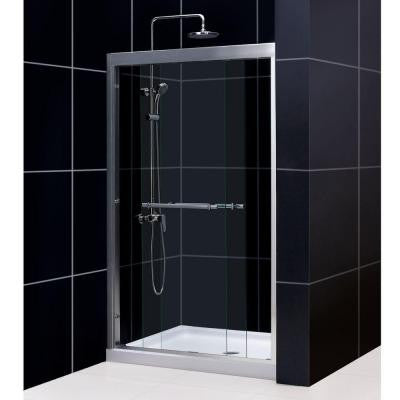 Duet 48 in. x 72 in. Framed Bypass Sliding Shower Door in Brushed Nickel with 48 in. x 36 in. D Base