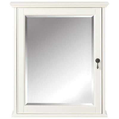Newport 24 in. W x 28 in. H Mirrored Wall Cabinet in White