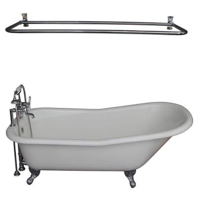 5.6 ft. Cast Iron Ball and Claw Feet Slipper Tub in White with Polished Chrome Accessories