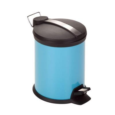 3 l Blue Round Metal Step-On Touchless Trash Can