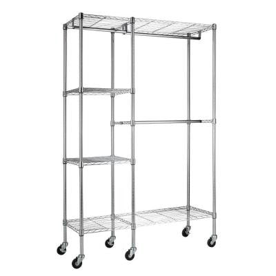4-Shelf 48 in. W x 74 in. H x 18 in. D Steel Garment Rack in Chrome with Wheels