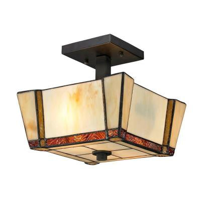 Paragon 2-Light Dark Bronze Semi-Flush Mount Light with Art Glass Shade