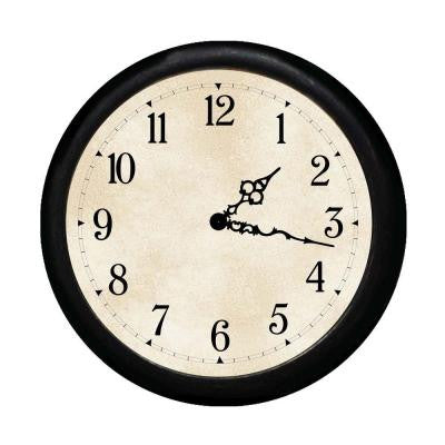 12 in. Round Wall Clock - Black