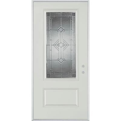 36 in. x 80 in. Neo-Deco Zinc 3/4 Lite 1-Panel Prefinished White Left-Hand Inswing Steel Prehung Front Door