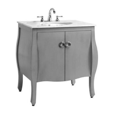 Savoy 31 in. W Vanity in Antique Grey with White Marble Top and Integrated White Sink