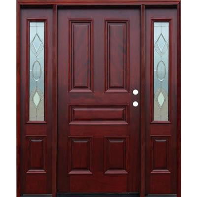 66in.x80in. Strathmore Traditional 5-Panel Stained Mahogany Wood Prehung Front Door w/6in Wall Series & 12in Sidelites
