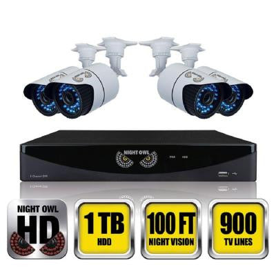 8-Channel Video Security System with 4 Hi-Resolution 900 TVL Bullet Cameras