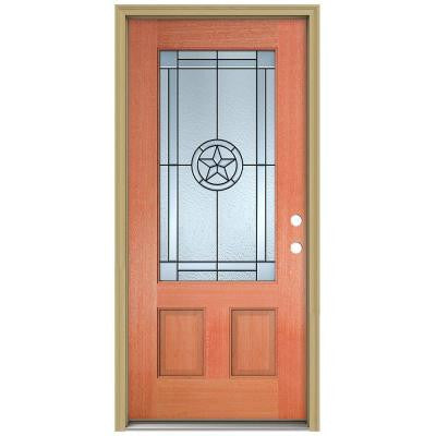 36 in. x 80 in. Lone Star 3/4 Lite Unfinished Mahogany Wood Prehung Front Door with Brickmould and Patina Caming
