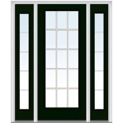 60 in. x 80 in. Classic Clear Glass GBG Full Lite Painted Builder's Choice Steel Prehung Front Door with Sidelites