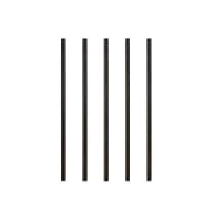 26 in. x 3/4 in. Black Aluminum Round Fine Textured Deck Railing Baluster with Connectors (5-Pack)