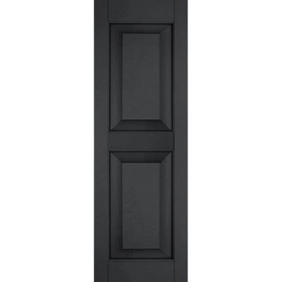 12 in. x 64 in. Exterior Real Wood Pine Raised Panel Shutters Pair Black