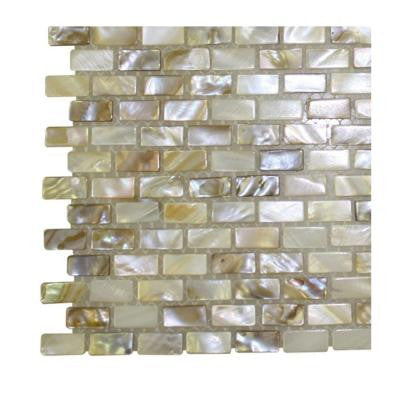 Baroque Pearls Mini Brick Pattern Glass Floor and Wall Tile - 3 in. x 6 in. x 8 mm Tile Sample