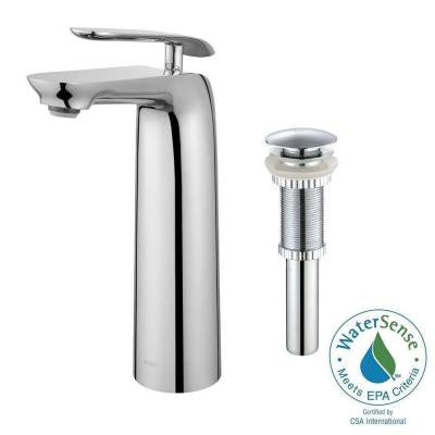 Seda Single Hole Single-Handle Bathroom Faucet with Matching Pop-Up Drain in Chrome
