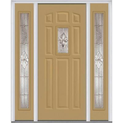 60 in. x 80 in. Heirloom Master Deco Glass 1/4 Lite Painted Builder's Choice Steel Prehung Front Door with Sidelites