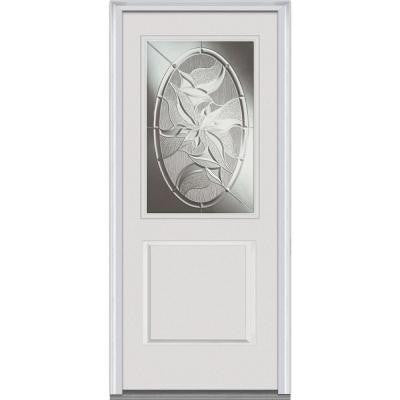 32 in. x 80 in. Lasting Impressions Decorative Glass 1/2 Lite 1-Panel Primed White Fiberglass Smooth Prehung Front Door