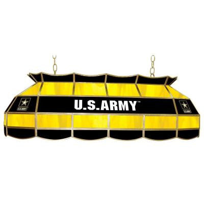United States Army 3-Light Stained Glass Hanging Tiffany Lamp
