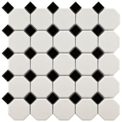Metro Octagon Matte White and Black 11-1/2 in. x 11-1/2 in. x 5 mm Porcelain Mosaic Floor and Wall Tile(9.2 sq.ft./case)