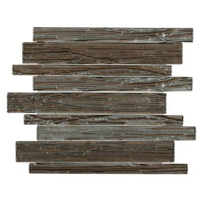 Gemini Redwood Planks 11-3/4 in. x 11 in. x 6 mm Glass Mosaic Tile