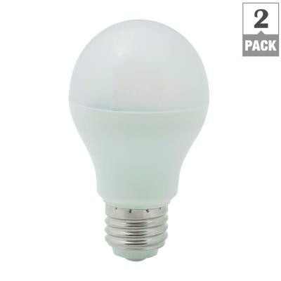 60W Equivalent Soft White A19 Non-Dimmable LED Light Bulb (2-Pack)