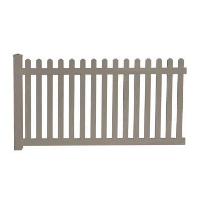 Cheyenne 4 ft. x 8 ft. Khaki Vinyl Picket Fence Panel EZ Pack