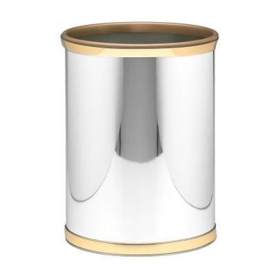 Mylar Polished Chrome and Brass Trash Can
