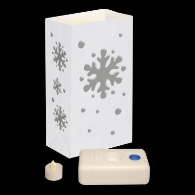 11 in. Battery Operated Snowflake Luminaria Kit (Set of 12)