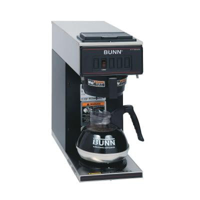 64 oz. Low Profile Pourover Coffee Brewer with 1 Warmer in Black