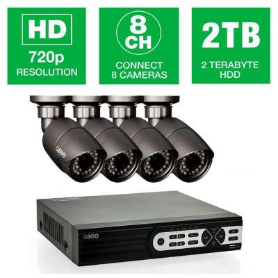 8-Channel 720p 2TB Surveillance System with (4) HD Camera 80 ft. Night Vision