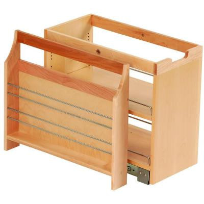 10-3/4x19-1/2x22-1/8 in. FINDIT Birch Kitchen Storage Organization Base Cabinet Pull out with Slide and Side Caddy