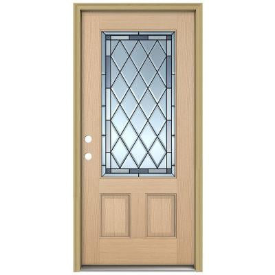 36 in. x 80 in. Firethorne 3/4 Lite Unfinished Hemlock Wood Prehung Front Door with Brickmould and Patina Caming