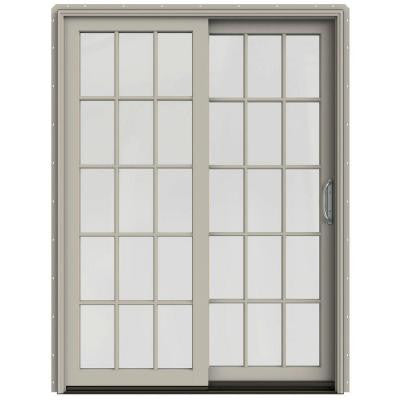 59-1/4 in. x 79-1/2 in. W-2500 Desert Sand Prehung Right-Hand Clad-Wood Sliding Patio Door with 15-Lite Grids