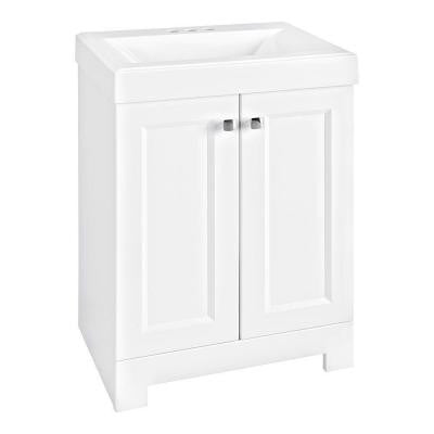 Shaila 24-1/2 in. W Vanity in White with Cultured Marble Vanity Top in White