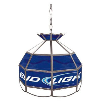 Bud Light 16 in. Silver Hanging Tiffany Style Billiard Lamp