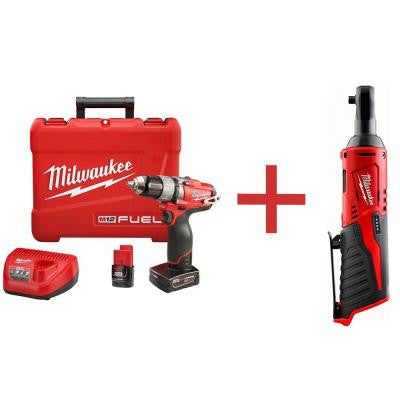 M12 FUEL 12-Volt Lithium-Ion Cordless Brushless 1/2 in. Drill/Driver Kit with M12 1/4 in. Ratchet