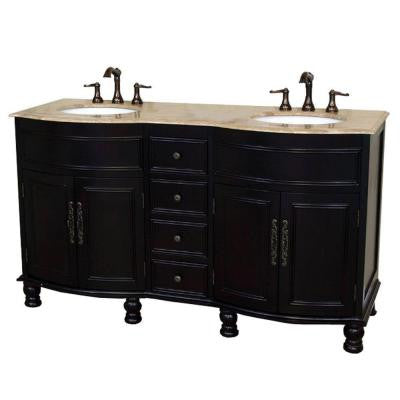 Cambria TR 62 in. Double Vanity in Dark Mahogany with Marble Vanity Top in Travertine