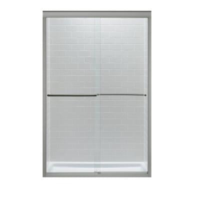 Fluence 47-5/8 in. x 70-5/16 in. Semi-Framed Sliding Shower Door in Matte Nickel with Clear Glass
