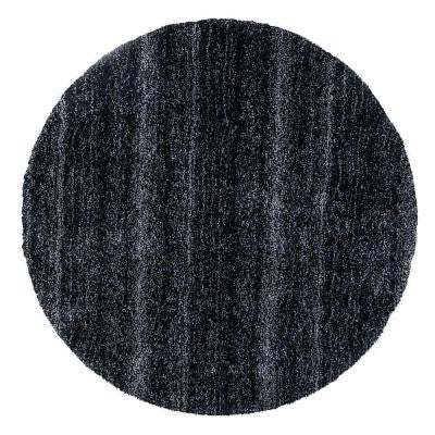 Cozy Shag Black/Silver 8 ft. x 8 ft. Round Area Rug