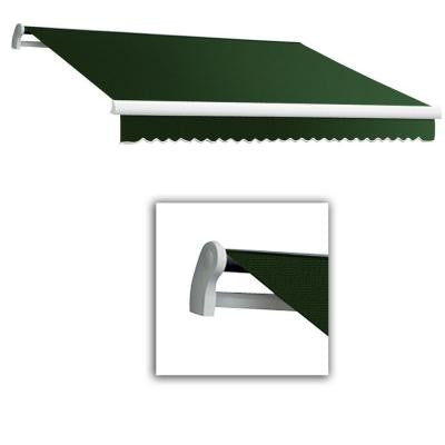 12 ft. Maui-LX Left Motor Retractable Acrylic Awning with Remote (120 in. Projection) in Forest Green