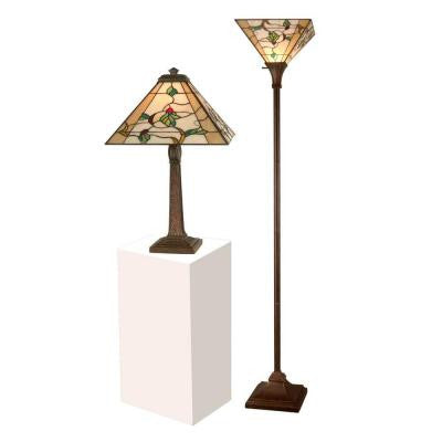 22 in. Schofield Mission Antique Bronze Verde Table Lamp with 72 in. Antique Bronze Verde Torchiere Lamp