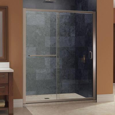 Infinity-Z 56 to 60 in. x 72 in. Framed Sliding Shower Door in Brushed Nickel