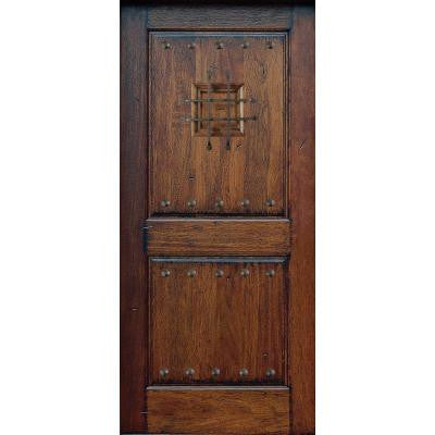 36 in. x 80 in. Rustic Mahogany Type Prefinished Distressed Solid Wood Speakeasy Front Door Slab