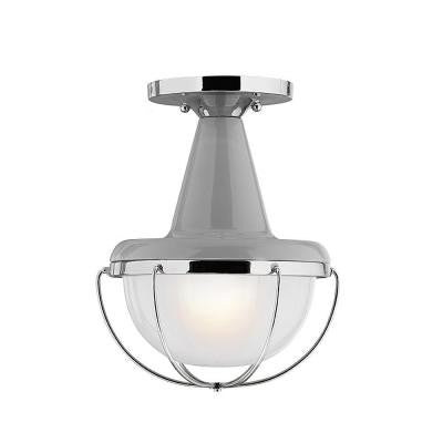 Livingston Collection 1-Light Hi Gloss Grey/Polished Nickel Outdoor Flushmount