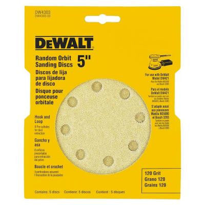 5 in. 8 Hole 120 Grit H and L Random Orbit Sandpaper 5-Pack