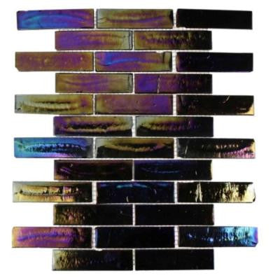 Iridescent Raven 11-3/4 in. x 9-3/4 in. x 8 mm Glass Mosaic Floor and Wall Tile