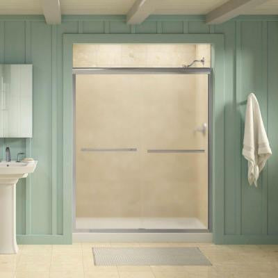Gradient 59-5/8 in. x 70-1/16 in. Semi-Framed Sliding Shower Door in Bright Polished Silver