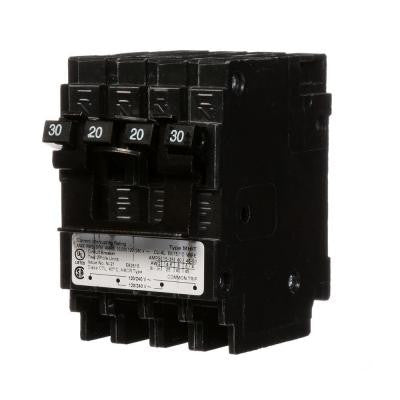 Quadplex One Outer 20 Amp Double-Pole and One Inner 30 Amp Double-Pole-Circuit Breaker