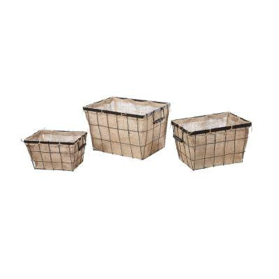 Beige/Black Burlap Storage Baskets (Set of 3)