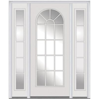 60 in. x 80 in. Classic Clear Glass Round Top Full Lite Painted Majestic Steel Prehung Front Door with Sidelites