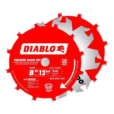 8 in. x 12-Tooth Stacked Dado Saw Blade Set