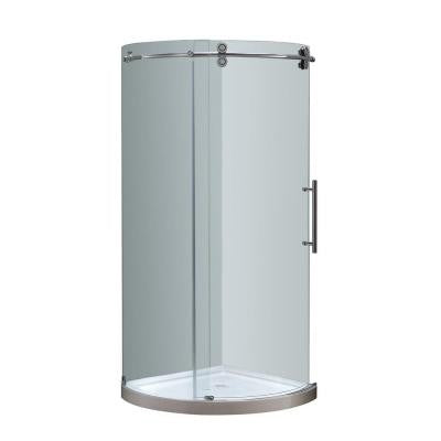 Orbitus 40 in. x 40 in. x 77-1/2 in. Completely Frameless Round Shower Enclosure in Chrome with Right Opening and Base